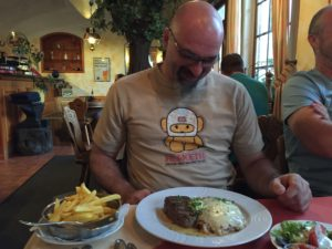 So Yox is having a weiner schnitzel with Bolognese sauce (meat) AND an 8oz steak on the side. Just in case.